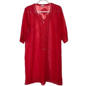 Westside Red Sheer Embroidered Cover Up